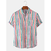 Mens New Colorful Striped Turn Down Collar Short Sleeve Shirts