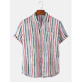 Мужские новые Colorful полосатые рубашки с коротким рукавом с отложным воротником