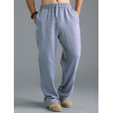 Mens Vintage Casual Baggy Solid Color Drawstring Style chinois Pantalon lâche