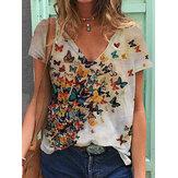 T-shirt casual allentate a maniche corte estate scollo a V stampa farfalla donna