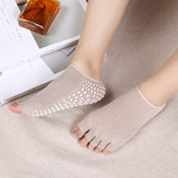 Women Exposed Five Toes Yoga Socks Non Slip Invisible Half Palm Sock Cotton