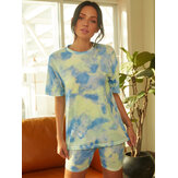 Tie Dye Print Women Summer Sports Two-piece Top Casual T-shirts