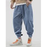 Erkek Vintage Kadife Sıcak Elastik Bel Kalın Günlük Pantolon