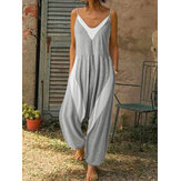 Women Patchwork V-Neck Sleeveless Sling Knitted Casual Loose Jumpsuit