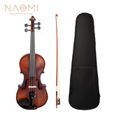 NAOMI Acoustic Violin 4/4 Full Size Solid Wood Violin Fiddle Gloss Finish Violin