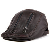 L/ XL/2XL Middle-aged Leather Windproof Painter Beret Hat