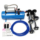 12V / 24V 120 PSI 4 Air Train Chromowany róg Trumpet Vehicle Blue Compressor Tubing