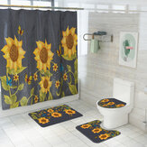 Sunflower Style Waterproof Toilet Seat Cover Shower Curtain Non Slip Rug