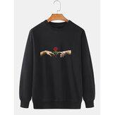 Herren 100% Baumwolle Hände Rosenmuster Druck Einfarbig Loose Daily Sweatshirt