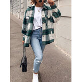 Women Plaid Button Front Lapel Long Sleeve Casual Coats With Multi Pocket
