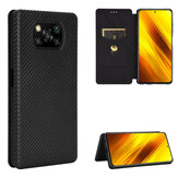 Bakeey Carbon Fiber Pattern Flip with Card Slot Stand PU Leather Shockproof Full Body Protective Case for POCO X3 NFC Non-original