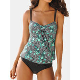 Plus Size Floral Tankini Polka Dot Spaghetti Straps Cover Belly Women Swimwear
