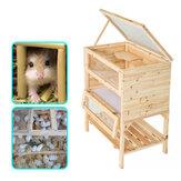 Drewniana 3-poziomowa klatka dla chomika Drewniany dom Mysz dla zwierząt domowych Małe zwierzęta Szczury Ćwiczenia