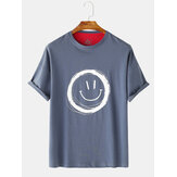 Heren Graffiti Smile Casual hals T-shirts met korte mouwen