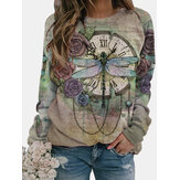 Vintage Dragonfly Printed Long Sleeve O-neck Blouse For Women