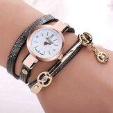 DUOYA Fashion Diamand PU Leather Strap Women Bracelet Watch