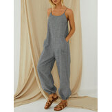 Striped Adjustable Shoulder Straps Sleeveless Casual Loose Harem Jumpsuit Overalls For Women