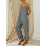 Listrado alças ajustáveis sem mangas casuais soltas harem jumpsuit macacão para mulheres