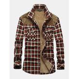 Erkek Classic Ekose Piush Astarlı Uzun Kollu Yaka Kalın Vintage Gömlek Ceket