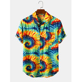 Mens Swirl Print Turn Down Collar Camisas de manga curta