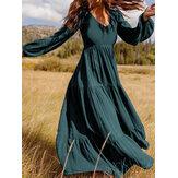 Damska, luźna, luźna, luźna sukienka maxi w stylu retro z powrotem na zamek błyskawiczny