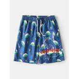 Mens Funny Cartoon UFO & Letter Print Kordelzug Mesh Lining Beach Casual Board Shorts
