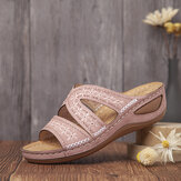 LOSTISY Women Handmade Stitching Floral Hollow Casual Comfy Sandals