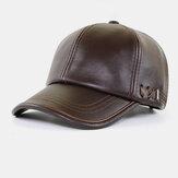 Men PU Leather Autumn Winter Solid Keep Warm Plus Velvet Fashin Leather Baseball Hat