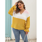 Plus Size Long Sleeve V-neck Color Block Causal Blouse