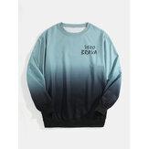 Heren Letter Print Ombre Pullover Casual Sweatshirts met lange mouwen