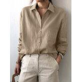 Camisas casuales de manga larga con solapa de color sólido para mujer con bolsillo