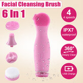 Bakeey 4-in-1 Electric Facial Wash Brush Waterproof Silicone Facial Cleanser Cleaner