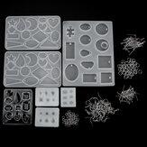 198 sztuk silikonowe formy do produkcji biżuterii wisiorek DIY zestaw narzędzi rzemieślniczych do odlewania żywicy