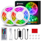 SOLMORE 10M 32.8FT LED Strip Light SMD5050 RGB IP65 Waterproof Rope Flexible Tape Lamp Kit met 44Keys IR Afstandsbediening