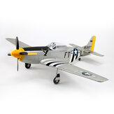 Dynam P-51D Mustang V2 Argento / Rosso 1200mm 1.2m Apertura alare EDF EPO RC Aeroplano PNP con alette