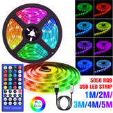 1-5M 5050 RGB USB LED Strip Light Colour Changing + 44 Keys IR Remote Control Christmas Decorations Lights