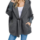 Women Trendy Fleece Pure Color Batwing Sleeve Hooded Coats