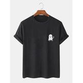 メンズハロウィン漫画ゴーストプリントコットン半袖Tシャツ