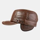 Мужские зимние теплые Натуральная Кожа плоские шляпы ветрозащитные На открытом воздухе верхний слой кожаные кепки дальнобойщики