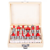 12pcs 1/4 or 1/2 Inch Shank Tungsten Carbide Router Bit Set With Wooden Case Woodworking Cutter