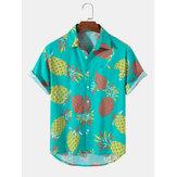 Мужские повседневные рубашки с тропическим ананасом Шаблон