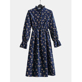 Women Floral Print Stand Collar Half Open Button Elastic Waist Long Sleeve Dresses
