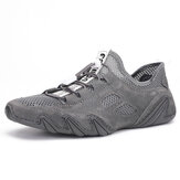 Genuine Leather Mesh Breathable Casual Sneakers