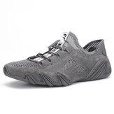 Sneakers casual traspiranti a rete in vera pelle