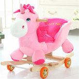 Baby Kid Toys 50 * 28 * 58CM Peluche a dondolo di legno Little Unicorn Style Riding Rocker