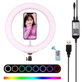 PULUZ PU430 7.6 Inch 6000-6500k bluetooth Dimmable LED RGB Video Ring Light with Remote Control Phone Clip for Selfie Vlog Tik Tok Youtube Live Streaming