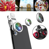 Universal 3 in1 عالي الوضوح 0.65X Wide Angle 10x Macro Fisheye الة تصوير Lens for Samsung iPhone