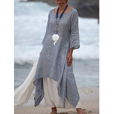 Women 3/4 Sleeve Loose O-neck High Low Hem Linen Cotton Dress