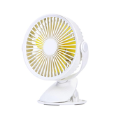 Well Star WT-F15 Portable Clip Fan 360 Degrees Rotation USB Mini Stripe Fan Rechargeable Air Cooling Fan Clip Desktop Fan Dual Use Portable Home Student Office Fan