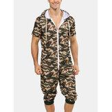 Erkekler Moda Kamuflaj Kısa Kollu Kapşonlu Fermuar Rahat Tulum Pijama
